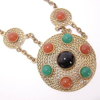 Vintage Art Deco Gilt Brass Filigree Carnelian Chrysoprase Onyx Glass Necklace