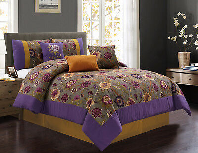 7-Piece Purple Gray Gold Clay Floral Printed Comforter Set, Queen