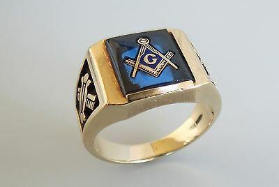 Wonderful fine blue spinal 10k gold 11.2 gram size 10 vintage Masonic ring