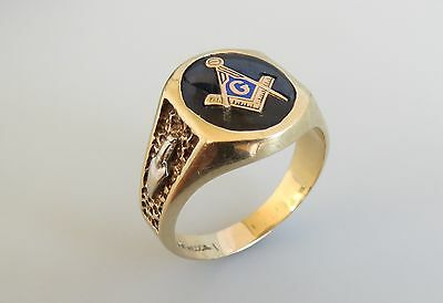 Estate Mecca 10k gold blue spinal yellow & white gold vtg ring 10.9 g size 12.75