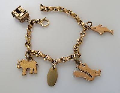 Delightful! cute :) petite Gold filled Victorian charm bracelet elephant fish +