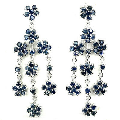 Gracefully Round Cut 2 Mm Top Rich Blue Sapphire 925 Sterling Silver Earrings