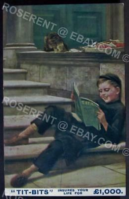 """1900s """"TIT-BITS"""" Magazine - £1000 Insurance Policy Printed Advertising Postcard"""