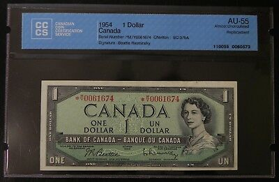 1954 $1 Canada Bank Note CCCS Certified AU-55 Replacement
