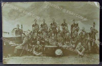 c1920s an unknown  Regimental  Band  in India ?  Real photo postcard