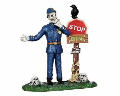 New~Lemax~Spooky Town~Skeleton Traffic Cop~Crossing Guard~Halloc