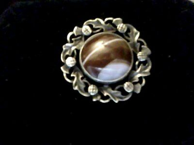 scottish solid silver and agate brooch john hart edinburgh 1968 and iona mark