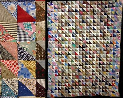 Vintage Hand Stitched Triangle FeedSack  &  Cotton Quilt Top Coverlet Bedspread
