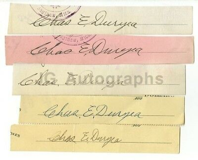 Charles Duryea - Engineer of 1st Gas-Powered Car - Lot of 5 Autographs