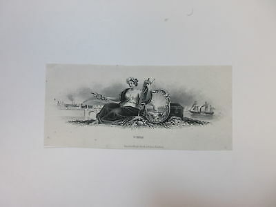 ABN Archives Proof Vignette Seated allegorical Woman India paper ca.1870s RWH&E