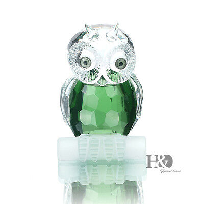 Green Owl Crystal Glass Animal Figure Paperweight Ornament Wedding Decor Gift