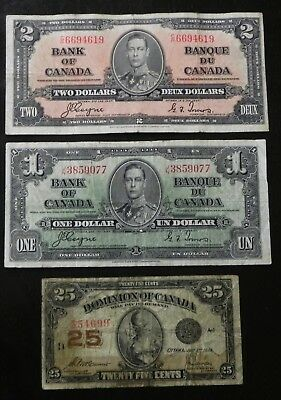 1937 $1-$2 + 1923 Shinplaster Canada Bank Notes with Coyne/Towers Signatures