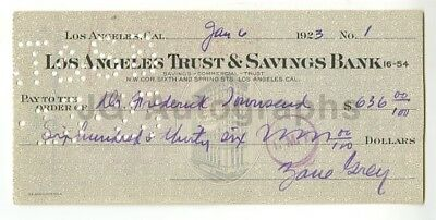 Zane Grey - Adventure novels Author - Autographed Check from 1923