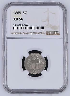 US 5 Cents 1868 NGC About Uncirculated 58 Shield