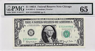 $1 1963A Federal Reserve Star Note Chicago S/N G21246056E PMG 65 Gem Unc