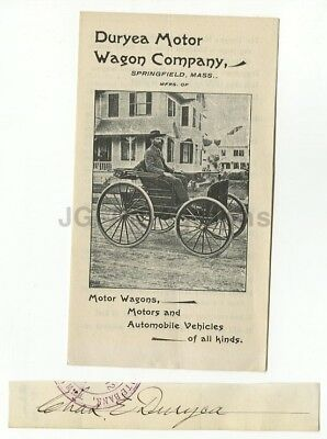 Charles Duryea - Engineer of 1st Gas-Powered Car Vintage Autograph & Pamphlet