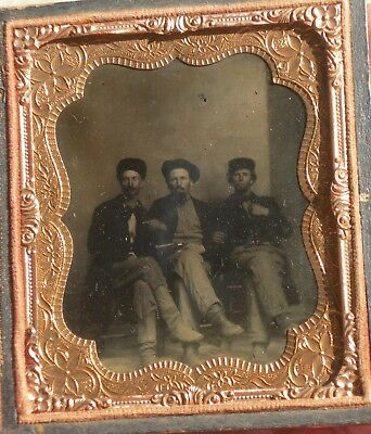 Tintype 3 Men, One w/ Pistol, Confederate Uniform? Civil War Soldier