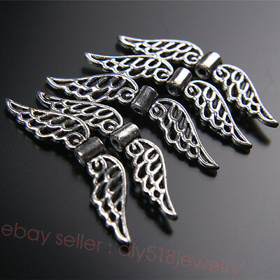 10Piece 32*8mm Spacer Beads Charms Wing Tibetan Silver DIY Jewelry Finding 7406B