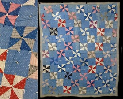 Vintage Hand Stitched Pinwheel Block FeedSack & Cotton Quilt Coverlet Bedspread