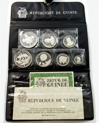 1969 Republic of Guinea 7-Coin Silver Proof Set - 500 250 200 100 Francs