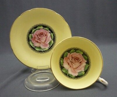 Wide PARAGON Hand Paint PINK ROSE on Black Medallion Tea Cup & Saucer Duo Set