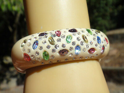 Vintage signed WEISS Clamper Bracelet Multicolored Pastel Rhinestones Perfect NR