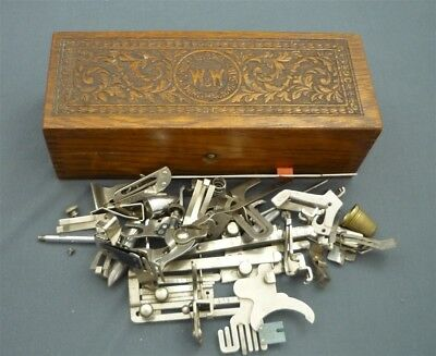 WHEELER & WILSON Sewing Oak Wooden Box & Unsorted Lot of Sewing Machine Parts