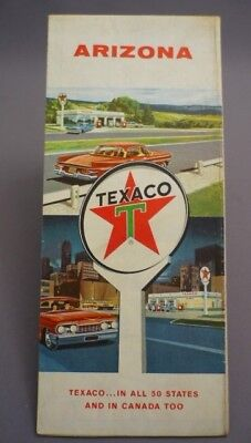 Vintage TEXACO Gas Station Road Street Map 1961 ARIZONA USA
