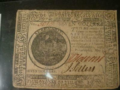 May,9,1776 Philadelphia Continental Currency Seven Dollars Very Good