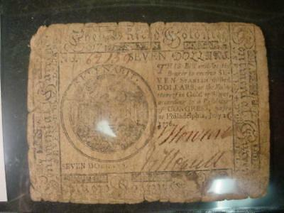 July 22,1776 Philadelphia Continental Currency Seven Dollars  Good