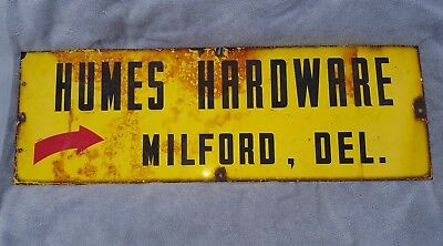 """Yellow Humes Hardware Milford De Delaware Porcelain Sign 36 By 12"""""""