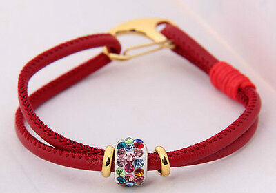 1Pcs red Leather Hong Bala lobster clasp fashion crystal beads bracelet 20cm