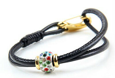 1Pcs Black Leather Hong Bala lobster clasp fashion crystal beads bracelet 20cm