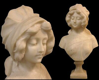 Antique Art Nouveau Italian Marble Alabaster Pedestal Bust Sculpture of Woman