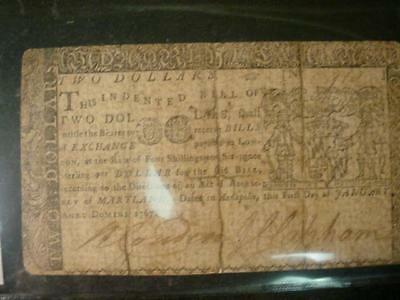January 1 1867 Maryland Continental Currency Two Dollars Good