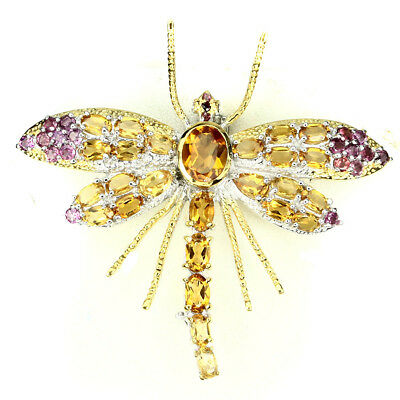 Awesome Oval 9x7 Mm Yellow Citrine Garnet 925 Sterling Silver Dragonfly Brooch