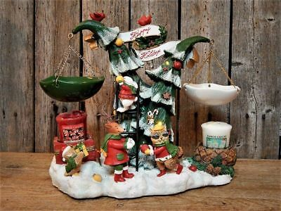 Rare Yankee Candle Lighted Musical Christmas Tree Woodland Animals Tart Warmers