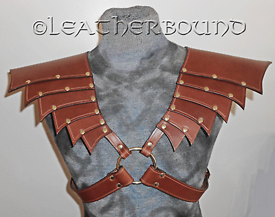 Leather Articulated Pauldrens in Brown with accents. LARP, Cosplay, Fantasy