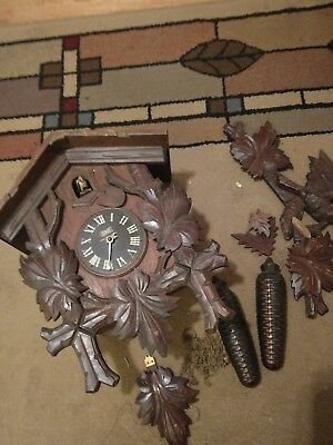 """Vintage Cuckoo Clock - Large 14"""" Case - Made in Occupied Japan -For Repair"""