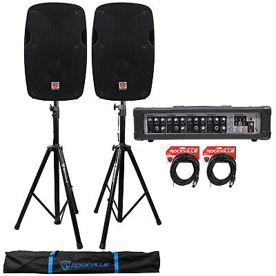 """2) Rockville SPG88 8"""" 400w DJ PA Speakers 8-Ohm+Powered 4-Ch Mixer+Stands+Cables"""
