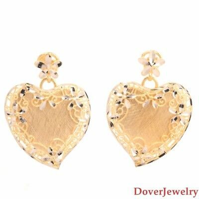 Modern Italian 14K Gold Heart Filigree Dangle Earrings 5.8 Grams NR