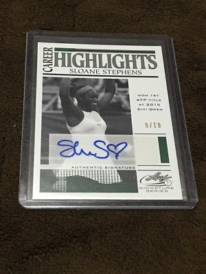 H 2017 Leaf Tennis Career Hightlights Green /10 Auto Sloane Stephens