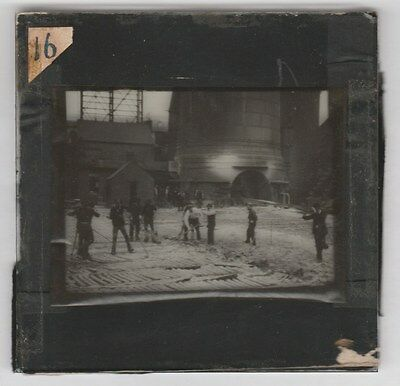 Lantern Slide Photo Construction Workers Europe English Melt Blast Furnace 1890s