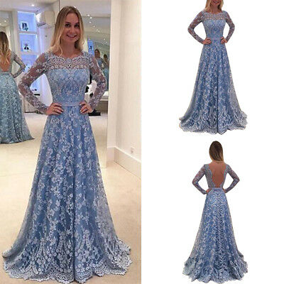 Women Backless Bridesmaid Prom Gown Evening Cocktail Lace Hollow Long Maxi Dress