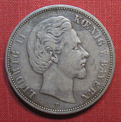 1876D Bavaria, German States 5 Mark - Decent Detail, Large 90% Silver Coin!