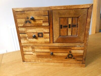 Antique Apprentice piece Small Inlaid Wooden Chest of Drawers