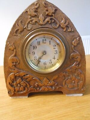 Antique Small Heavily Craved Black Forest Mantle Clock
