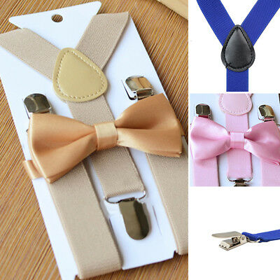 Baby Girl Boys Kids Adjustable Suspender Bow Tie Matching Set Wedding Suit Party