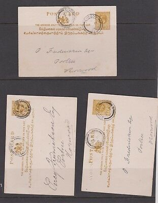 Three Good Ceylon 1903 Stationary cards