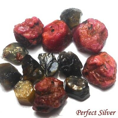 22.7 ct. 13 Pcs. Unheated Natural Rough Ruby & Green Sapphire @ Free ship